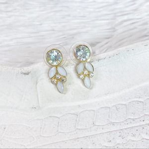 Gold White Mixed Stone Cluster Drop Earrings